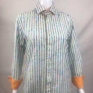 Mens Shirt Small Stripe Contrast Cuff Pima Cotton